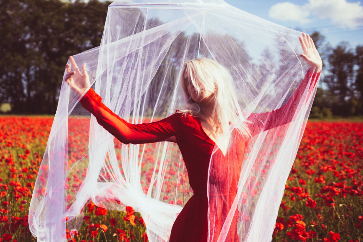 Mohnfeld Rot Kleid Netz Shooting