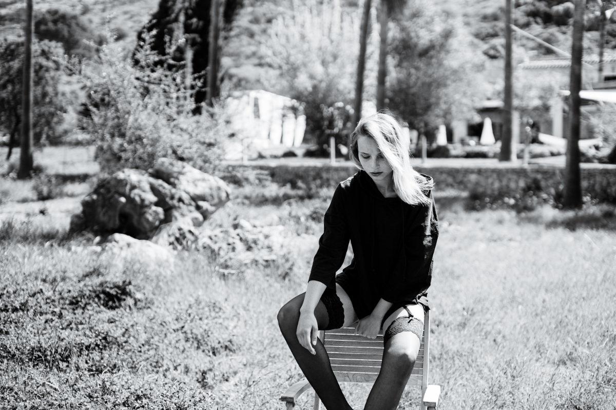 Palmen Mallorca Stuhl Black White